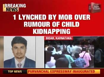 Screenshot of news channel report on mob lynching over child kidnapping fake news