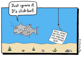 Cartoon showing two fishes ignoring clickbait