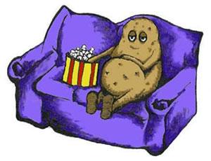 Cartoon illustration of potato sitting on couch