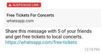 Clickbait link selling free tickets