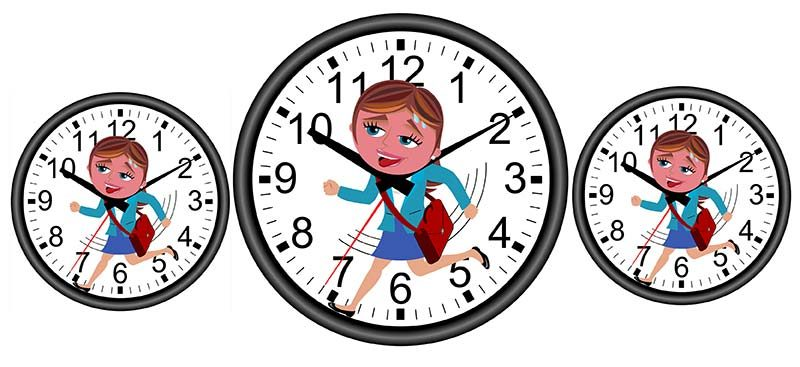 Illustration of girl with satchel running against time concept