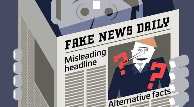Illustration of a man reading the newspaper Fake News Daily