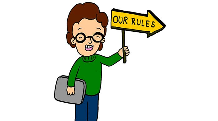 Illustration of a school student carrying a sign reading 'Our rules'