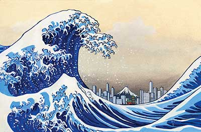 Illustration of tsunami wave