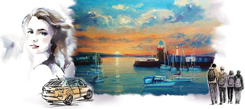 Illustration of a harbour, lady, car and teen friends