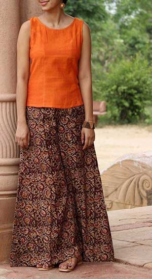 Young woman wearing palazzos and kurti