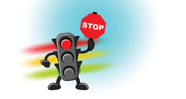 Cartoon of traffic light showing red