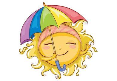 Illustration of smiling sun with colourful umbrella