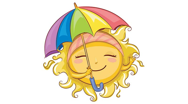 Illustration of smiling sun with colourful umbrella