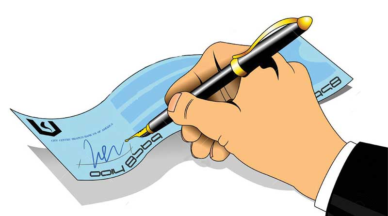 Illustration of a hand signing a cheque