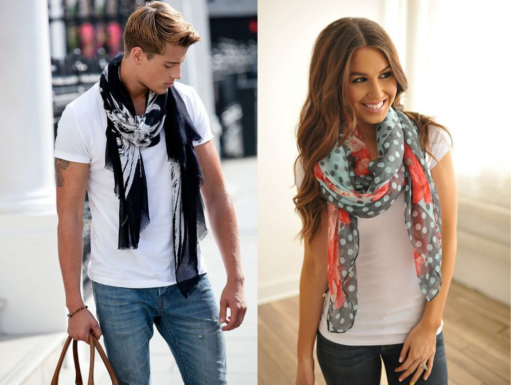 Male and female wearing scarves the classic way