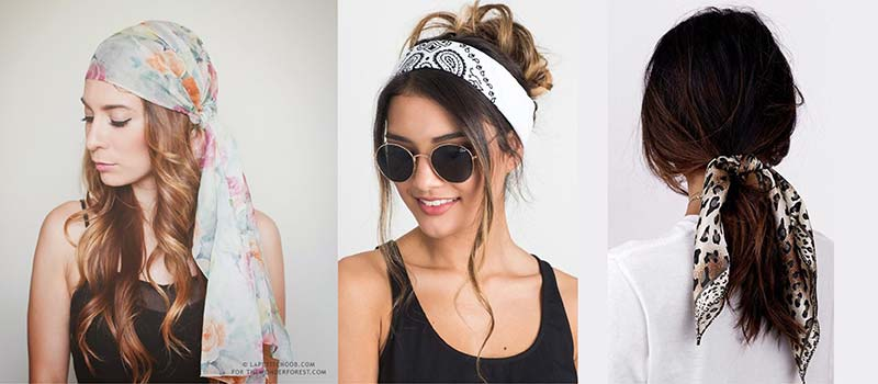 Models wearing scarves as a bandana, headband and ponytail tie