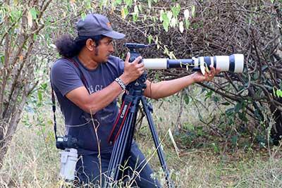 Shaison P. Ouseph filming a documentary