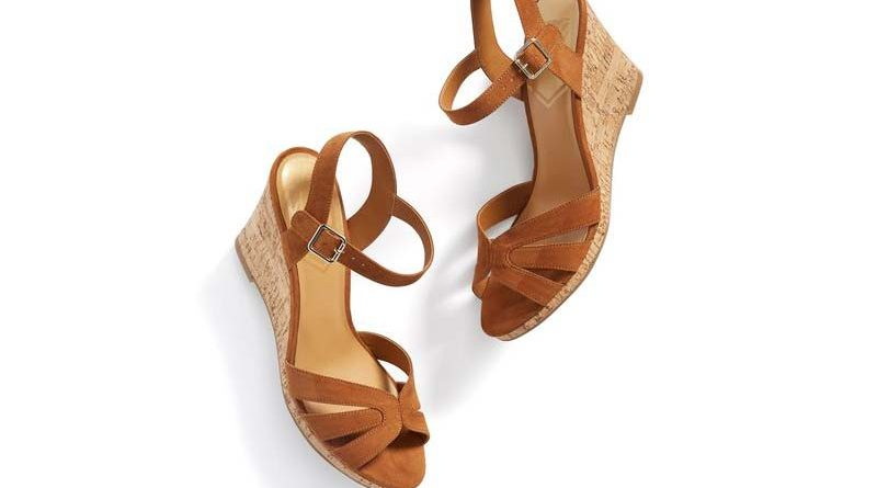A pair of tan wedges