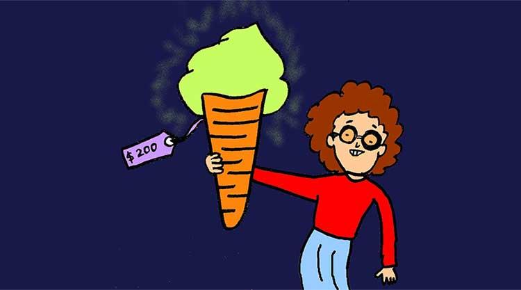 Illustratiof a boy holding a jellyfish ice-cream