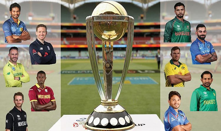 World Cup Cricket trophy with team captains around it