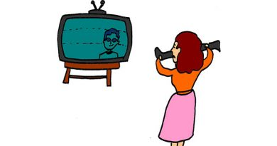 Cartoon illustration of a woman stretching stocking in front of B&W television