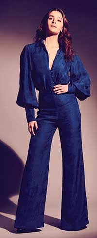 Alia Bhatt wearing a blue jumpsuit by Flor.et.al