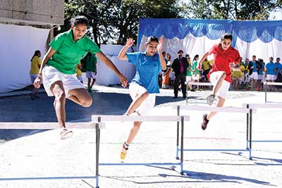 Students of All Saints College, Nainital, at a sports event