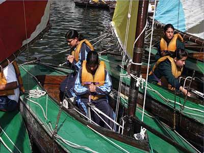 Students of All Saints College, Nainital, kayaking