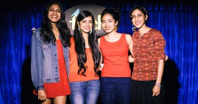 The four members of Ladies Compartment on stage after a show