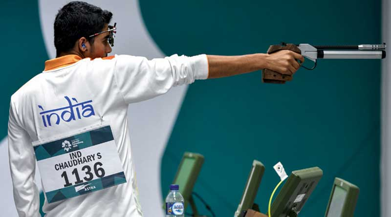 Saurabh Chaudhary shooting at a tournament
