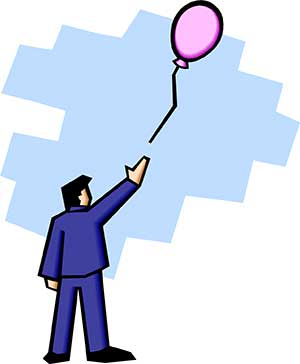 Illustration of a man letting a balloon go