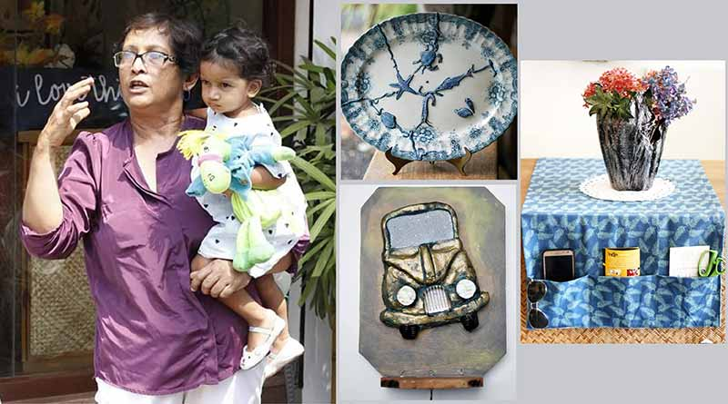 Patricia Pinto with some of her upcycled products