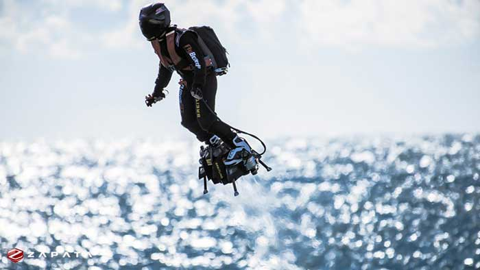 Franky Zapata crossing the English Channel on a hoverboard