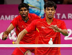 Chirag Shetty and S Rankireddy in action at the BWF Super 500