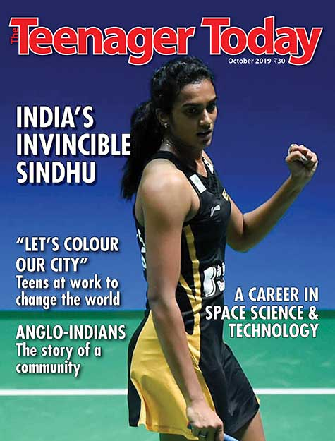 Cover of the October 2019 issue featuring badminton star P. V. Sindhu