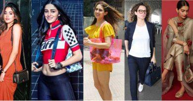 Various female Bollywood celebrities with their handbags