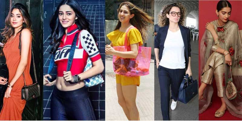 Various female Bollywood celebrities with their handbags