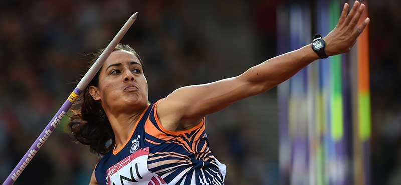 Annu Rani throwing a javelin