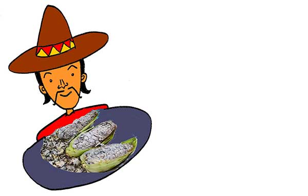 Illustration of Mexican man holding a plate of Huitlacoche