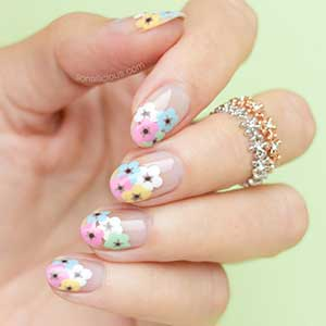 Round nail shape with floral pattern