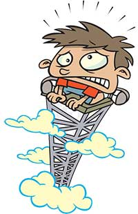 Cartoon of a boy at the top of a tower