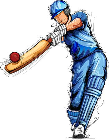 Illustration of cricketer batting