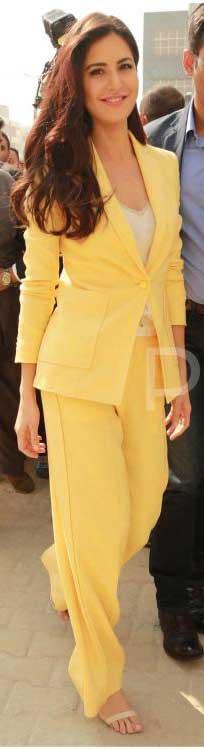 Katrina Kaif wearing a yellow pantsuit