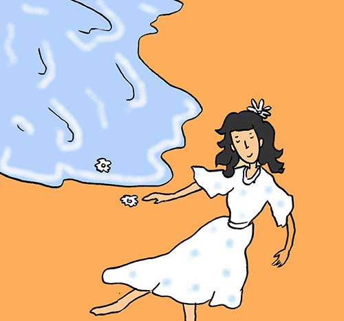 Illustration of woman wearing white on beach