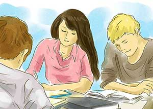 Illustration of three students studying together