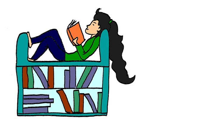 Illustration of girll sitting in an armchair with book shelves underneath