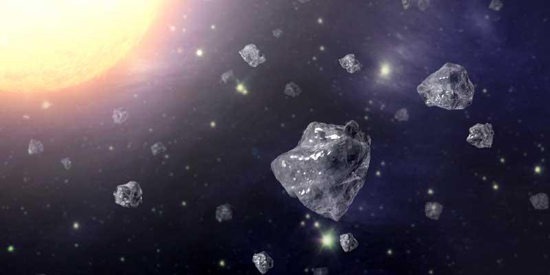 Artist's representation of diamond rain falling in space