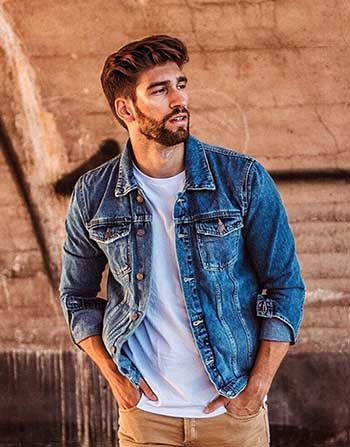 Young man wearing blue denim jacket