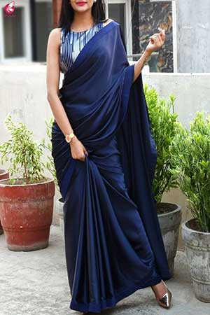 Women wearing silk saree in classic blue