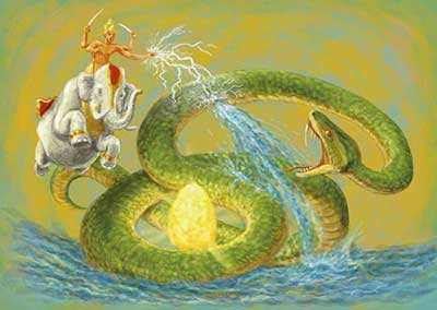 Illustration of the serpent, Vritra, in Hindu mythology