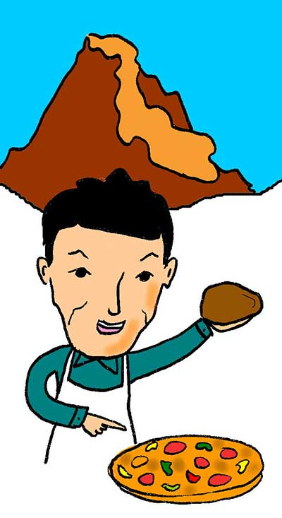 Illustration of man making pizza in front of Mount Vesuvius