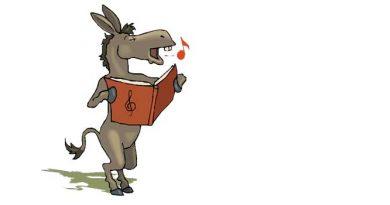 Illustration of a singing donkey