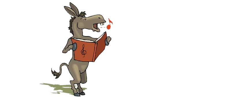 Illustration of a singing donkey