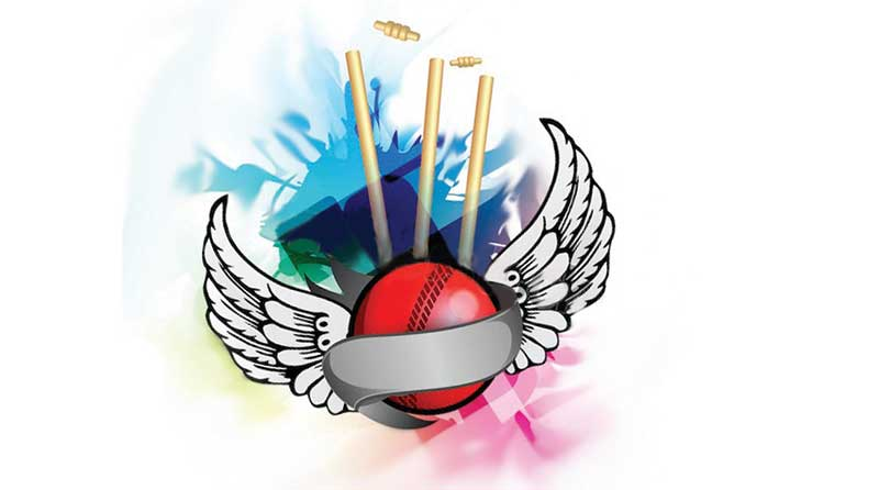 Illustration of cricket ball with wings